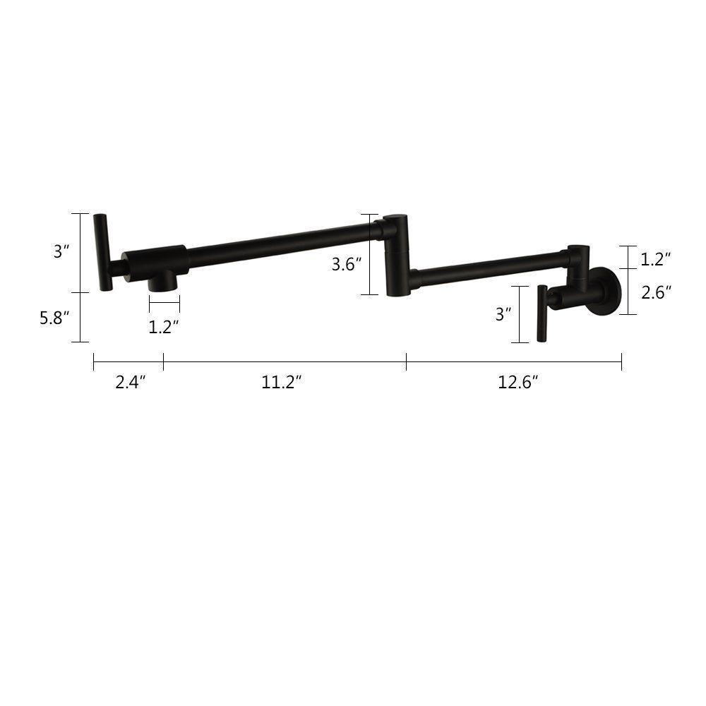Vidric Chrome Nickel Black Brass Pot Filler Tap Wall Mounted Kitchen Faucet Single Cold Single Hole Tap Rotate Folding Spout
