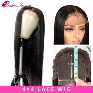 Парик из натуральных волос Aisha Queen, бразильский, 4*4, накладные волосы, натуральный цвет, не Реми, прямые, волнистые, можно изменить, плотность ...