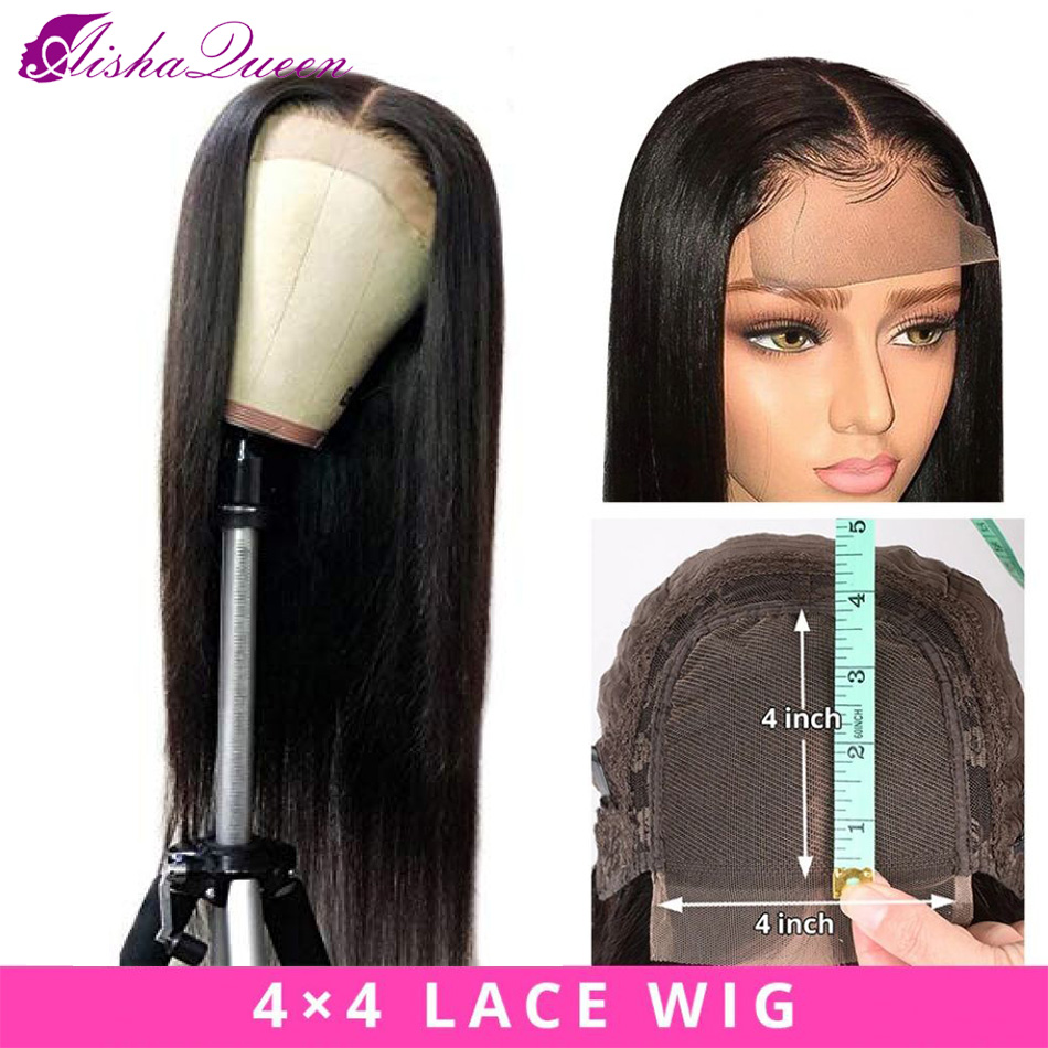 Aisha Queen Brazilian 4*4 Lace Closure Wig Human Hair Wig Natural Color Non-remy Straight Wave Wig Can Be Restyle 150% Density