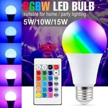 Bombilla LED E27 RGB para el Hogar Inteligente, lámpara RGBW de 85-265V, 5W, 10W, 15W, ampolla mágica que cambia de Color con Control remoto
