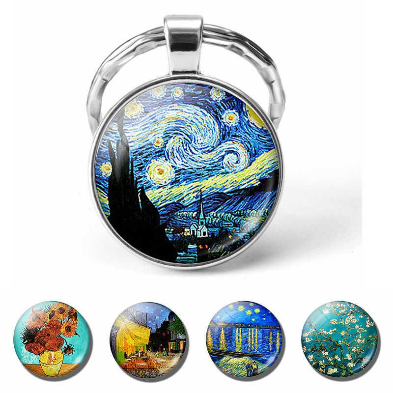 Van Gogh ภาพวาดสีน้ำมันพวงกุญแจผู้ชายผู้หญิงแฟชั่นเงินนูนพวงกุญแจ Starry Night เครื่องประดับดอกทานตะวันแฟชั่นจี้ของขวัญ