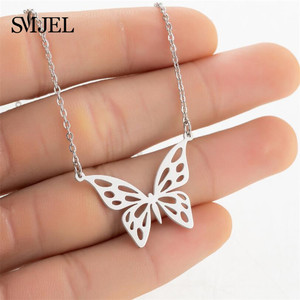 Bohemian Cute Butterfly Necklaces Pendants for Women Stainless Steel Sweet Animal Choker Girls Fashion Jewelry Collar de mujer