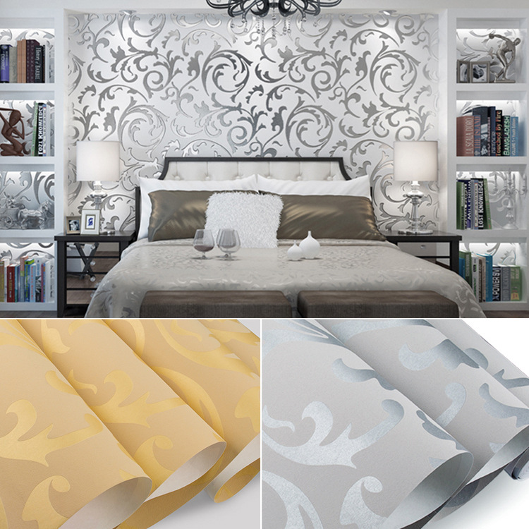 Foreign Trade Hot Sales 3D Non-woven Wallpaper European Style Crochet Wall Bedroom Living Room Hotel Wall-to-Wall Wallpaper
