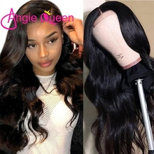 ANGIE QUEEN Body Wave Lace Frontal Human Hair Wigs 2X6 Pre Plucked Brazilian Remy Hair Wig 150 Density Natural Color 18-26Inches