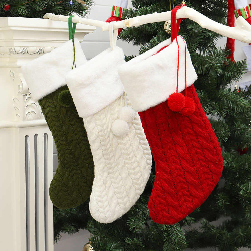 Stocking Christmas Tree Knit Green White Red Set 3 Wall Hanging Decor 20/""