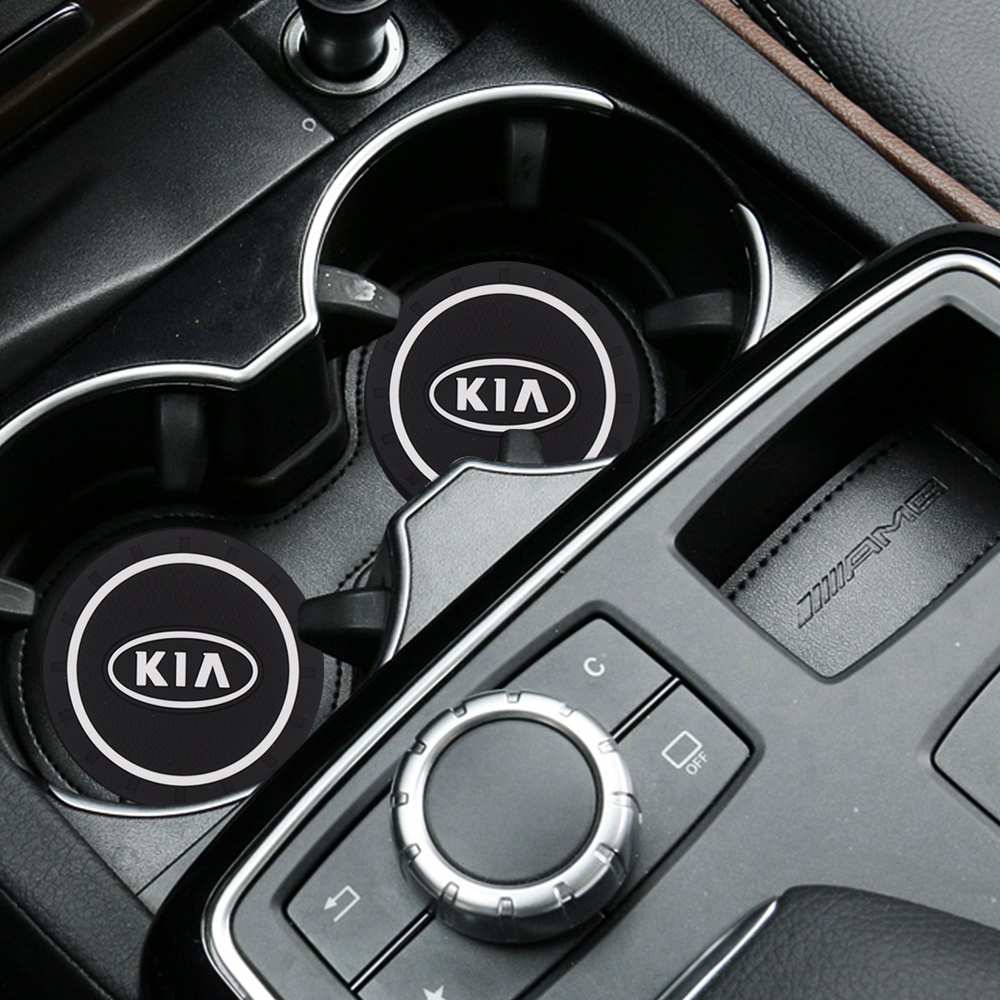 Car Styling Pvc Non-slip Car Coaster Silicone Epoxy  Car Decoration For KIA Sportage Ceed Kia Sorento 2017 2018 Car Accessories