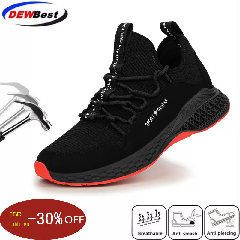 Men's Work Safety Shoes Breathable Lightweight Steel Toe Cap Fashion Breathable Sports Shoes Summer Men's Sports Shoes Boots