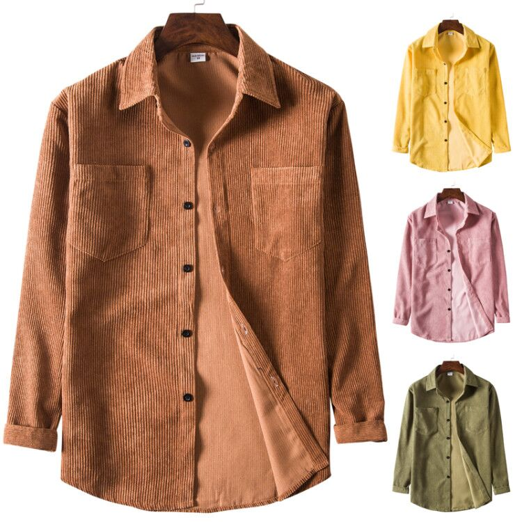 2020 Spring Men Corduroy <font><b>Shirt</b></font> Cotton Long Sleeves Bottoming <font><b>Shirt</b></font> Slim <font><b>Wine</b></font> <font><b>Red</b></font> High Quality image