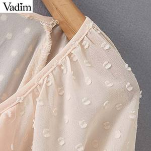 Image 3 - Vadim mujer puntos diseño Blusa con volantes cuello en V manga larga linterna camisa mujer casual elegante sólido blusas LB378