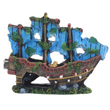 Resin Home Aquarium Ornament Wreck Sunk Ship Fish Tank Landscape Pirate Ship Sailing Boat Destroyer Fish Aquarium Decoration(China)