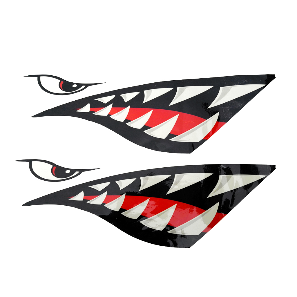 2Pcs Shark Mouth Tooth Decals Stickers For Kayak Boat Jet Ski Car Window