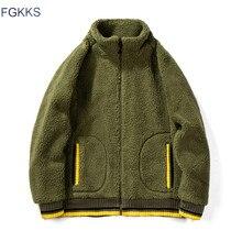 FGKKS ผู้ชาย Hoodies Sweatshirts ฤดูใบไม้ร่วงฤดูหนาวใหม่ผู้ชายแฟชั่นสีทึบ Hoodies ชายเสื้อซิปเสื้อสเวตเตอร์ถัก