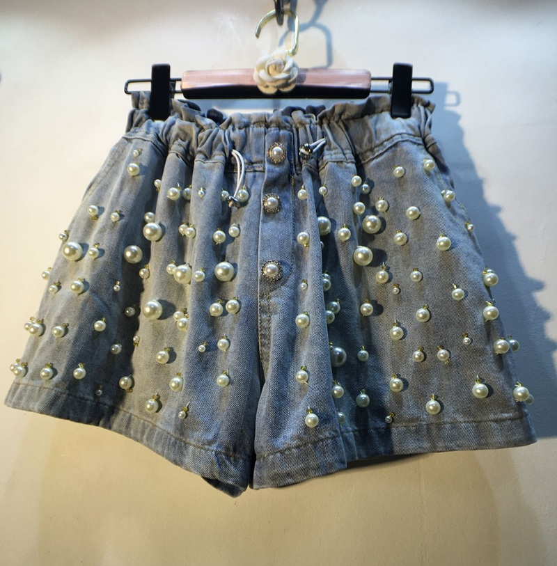 Jean Shorts For Women Summer Wear European Style Handmade Sewing Beads Pearl Elastic High Waist Wide-Leg Denim Shorts Hot Pants