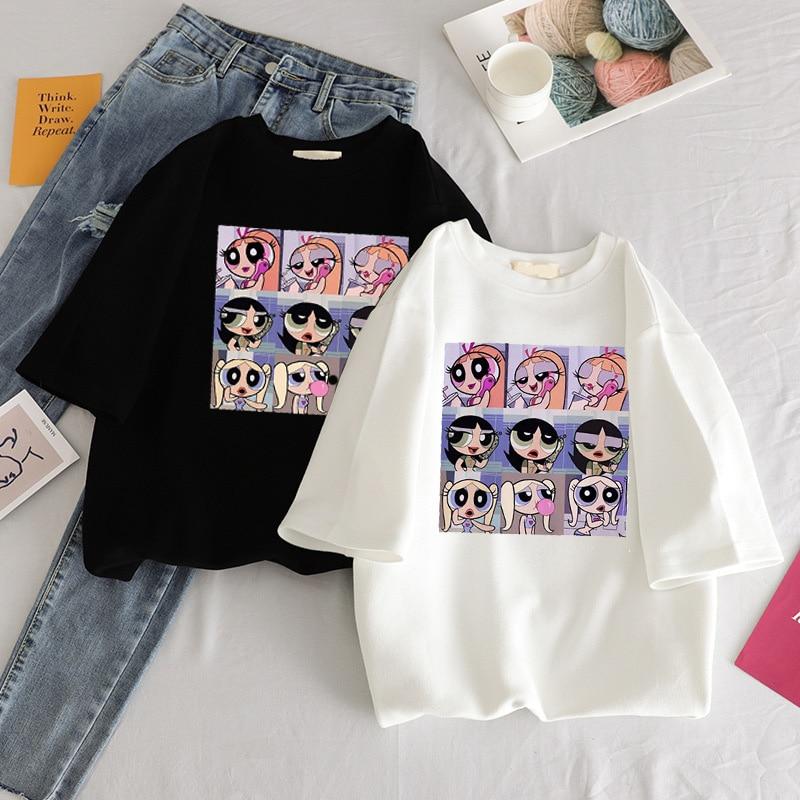 Summer casual Women T-shirts Ulzzang Streetwear kawaii cartoon print Tshirt Korean Style Tops Harajuku short sleeve t shirt(China)