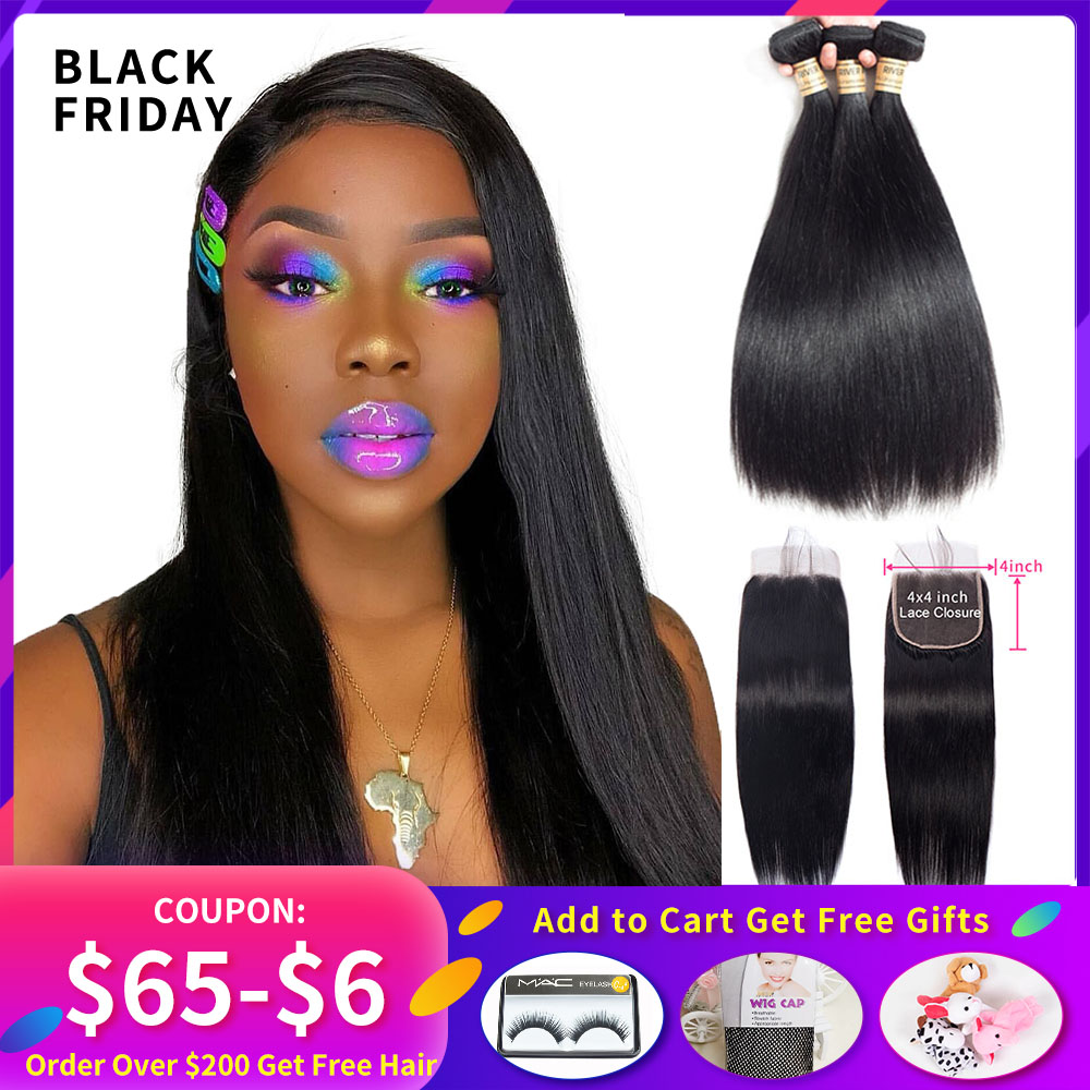 Brazilian Straight Hair Weaving 3 Bundles Remy 100% Human Hair Weave Bundle With 4x4 Lace Closure Free Part Hair Extension