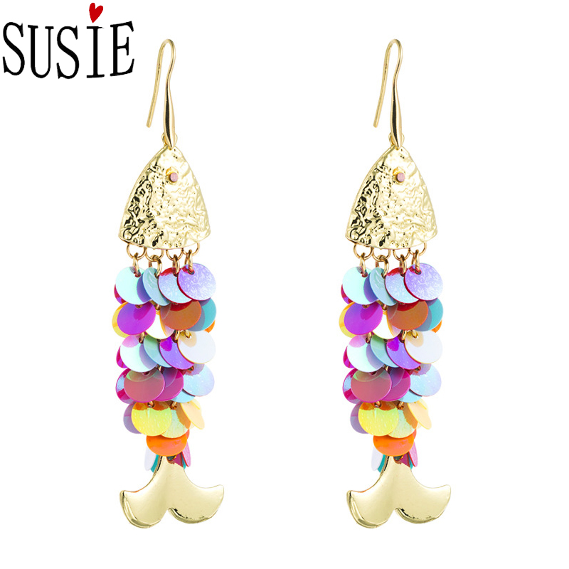 LOVE SUSIE Fashion Earrings Dazzling Fish Scales Mermaid Shape Jewelery Party Accessories Sequins Tassel Earrings