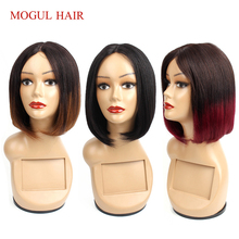 Lace Wig Blonde Human-Hair-Wigs-I-Part Mogul-Hair Burgundy Short Hair-Style Black Straight