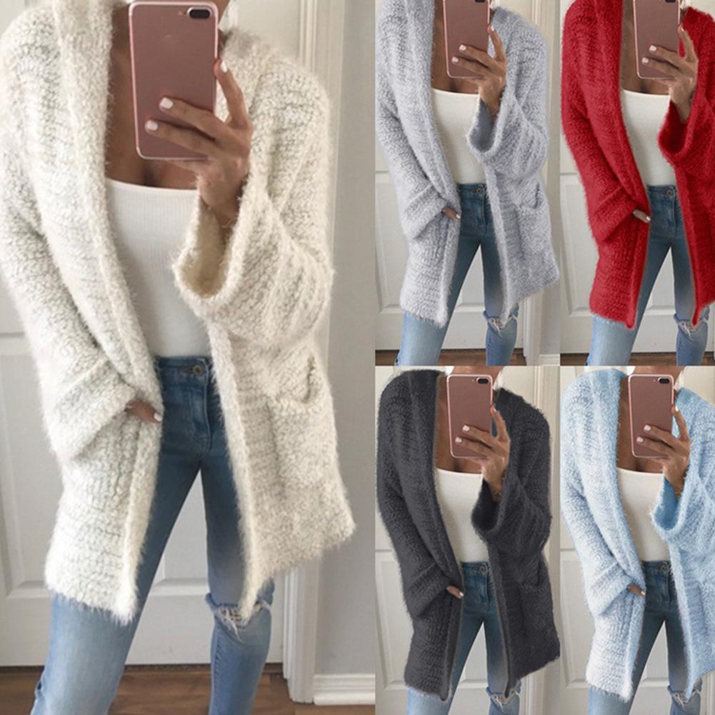 2019 Autumn Winter Batwing Sleeve Knitwear Cardigan Women Large Size Knitted Sweater Cardigan Female Elegant Jumper Coat