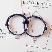 1 par criativo simples montanha mar pingente pulseiras ajustável atração magnética casal amizade pulseiras jóias presente