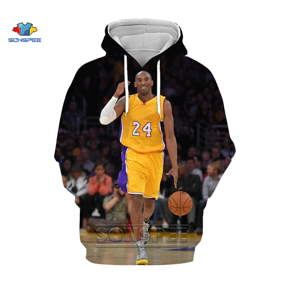 SONSPEE Fashion Streetwear Kobe Bryant Hoodie 3D Print Sweatshirt Multiple Colour Women Mens Hoodies Pullover Sudadera Hombre