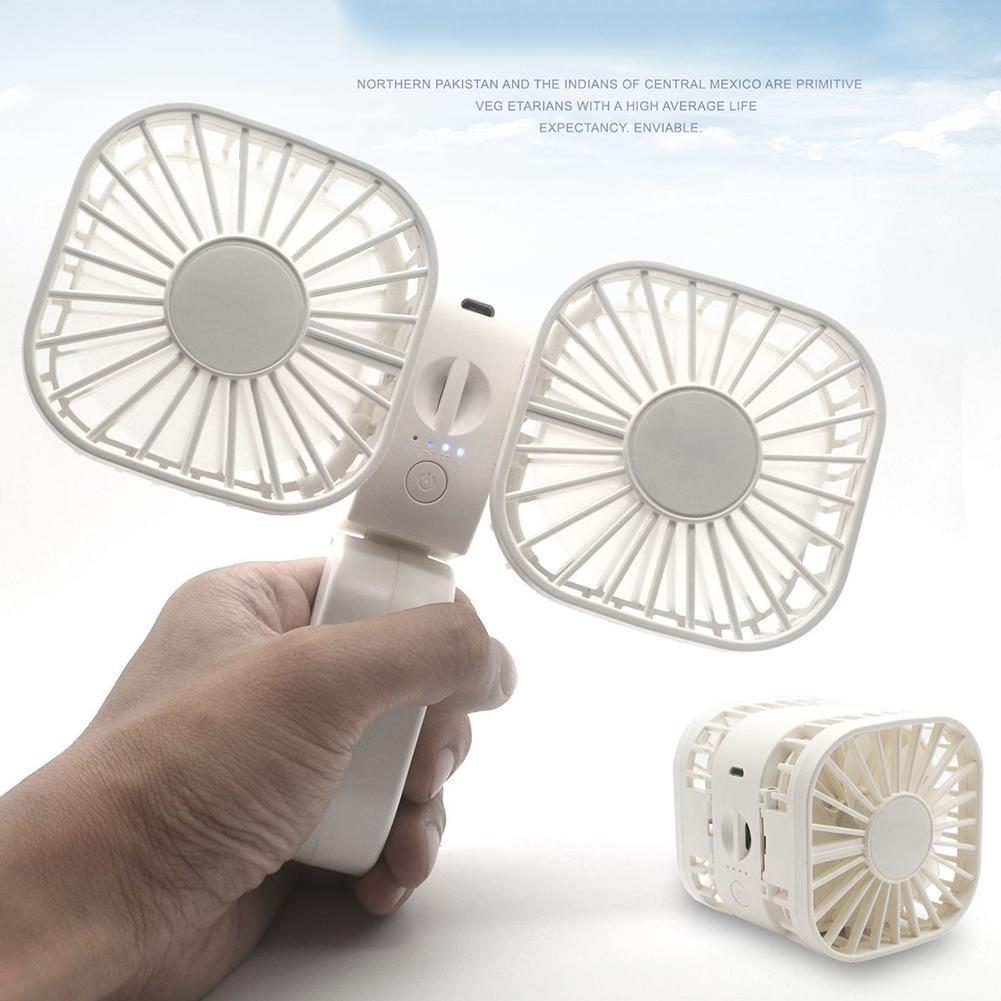 Handheld Fan Small Fan Adjustment Summer Hands-free Foldable Lanyard Hanging USB Cooling Fan Air Cooler