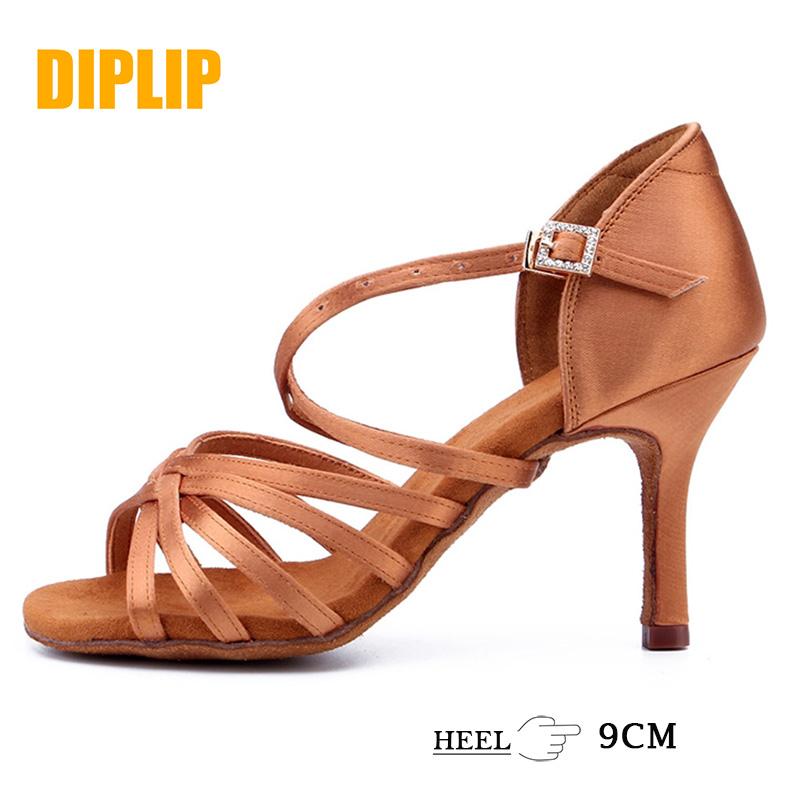 DIPLIP New Hot Latin Dance Shoes Women's Ballroom Shoes Tango Soft Bottom Dance Shoes 9cm Girl Salsa High Heel Dance Shoes