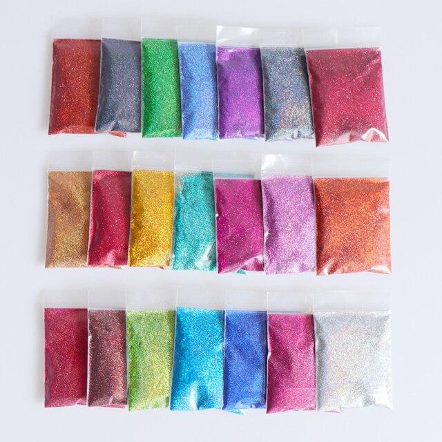21PCS/Set 0.2mm Holographic Glitter Nail Powder Shining Laser Fine Nail Glitter Sequins Dust Nails Art Decorations Tips Manicure 1