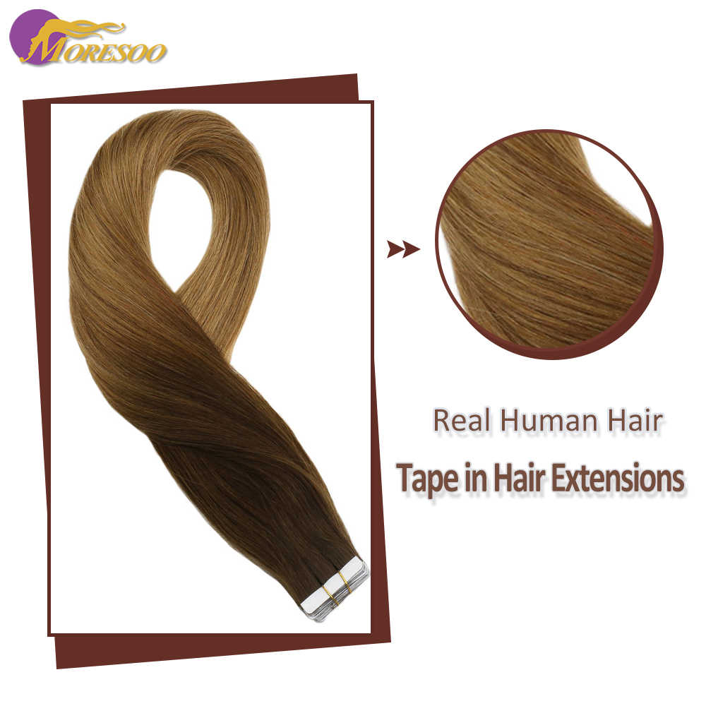 Moresoo  Ombre Tape in Hair Extensions Straight Hair Skin Weft Tape Color #3 Brown Fading to #6 Medium Brown Human Hair