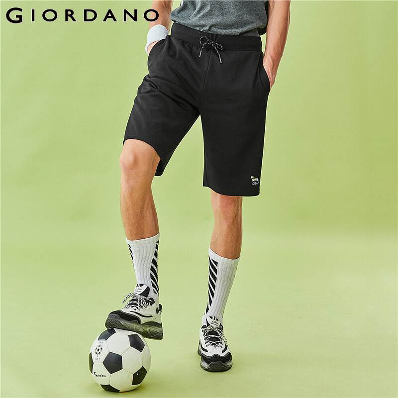 Giordano Men Shorts Polar Bear Embroidery Casual Summer Pants Elastic Waistand With Drawtring Casual Ropa Hombre 13100206