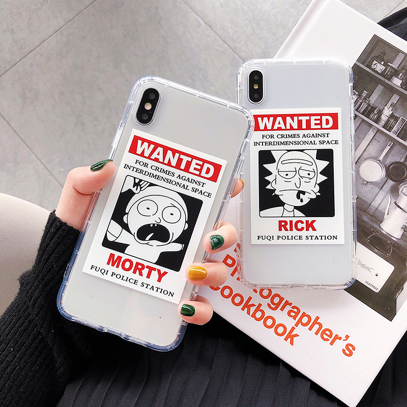 Cartoon Rick And Morty Wanted Comic Meme Soft Clear Phone Case Cover Fundas Coque For iPhone XS Max 6 6S 6Plus 8 8PLUS XR image