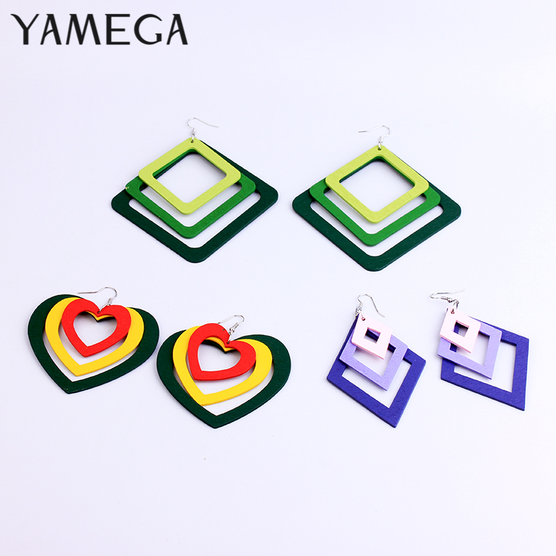 YAMEGA Large Multilayer Natural Wooden Earrings Long StaColorful Africa Drop statement Earring For Women Lady Girls 2019 New