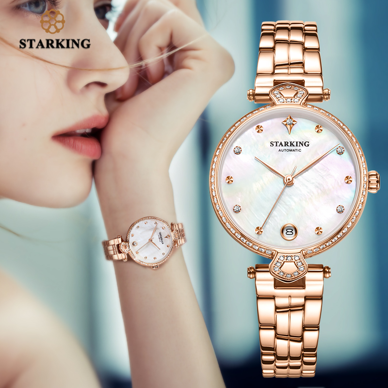 <font><b>STARKING</b></font> Luxury Women <font><b>Watches</b></font> Rose Gold Stainless Steel Diamond Ladies <font><b>Watches</b></font> Gift Automatic Mechanical montre femme Waterproof image