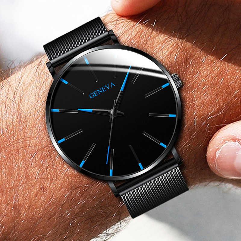 Mode de luxe hommes minimaliste montres Ultra mince noir en acier inoxydable maille bracelet montre hommes d'affaires décontracté analogique Quartz horloge