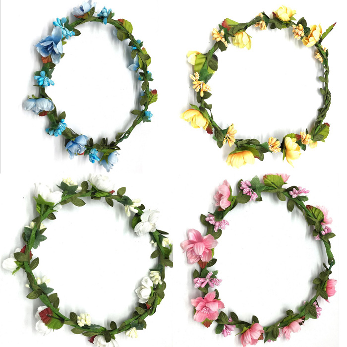 White Blue Pink Wedding Flower Crown Bridal Headband Floral Hair Wreath With Ribbon Girl Headwear Hair Accessories For Women