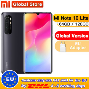 Spain Overseas Global Version Xiaomi Mi Note 10 Lite 6GB 64GB/ 128GB Snapdragon 730G Octa Core 64MP Quad Camera Smartphone 5260m