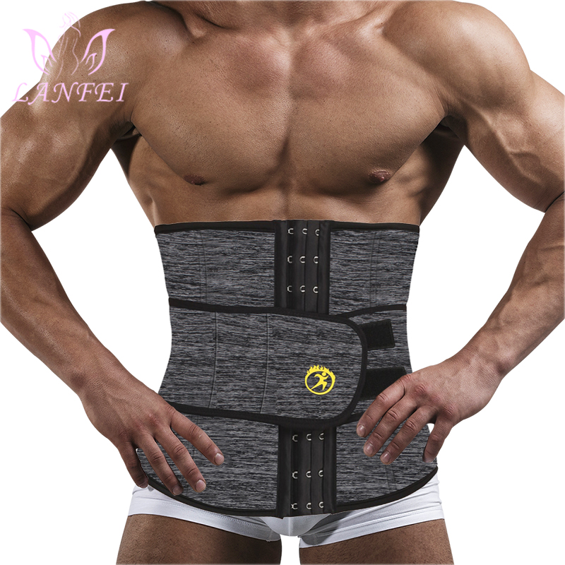 LANFEI Mens Thermo Neoprene Body Shaper Waist Trainer Belts Slimming Corset Waist Support Sweat Underwear Strap Modeling Shapers
