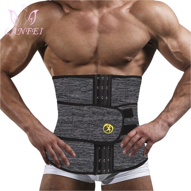 LANFEI Mens Thermo Neoprene Body Shaper Waist Trainer Belts Slimming Corset Waist Support Sweat Underwear Strap Modeling Shapers