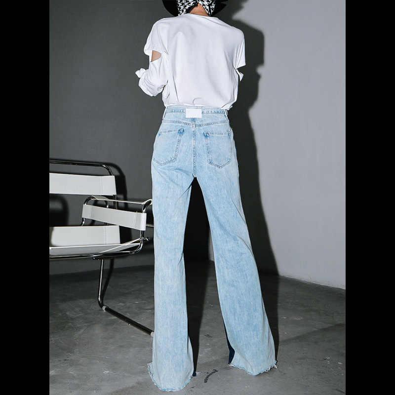 Женские джинсы EAM, Длинные свободные брюки с высокой талией, комбинированные, синего цвета, с высокой талией, на весну-осень 2020, 1T276