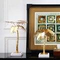 Palmeira de ouro escultura criativa mármore branco artesanato presentes moderno simples casa decorações coqueiro estátuas ornamento desktop presente