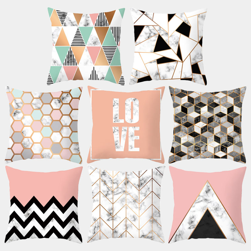 Marble Geometric Cushion Cover Nordic Simple Polyester Decorative Cushion Throw Pillow Sofa Pillowcase Home Decoration 10048