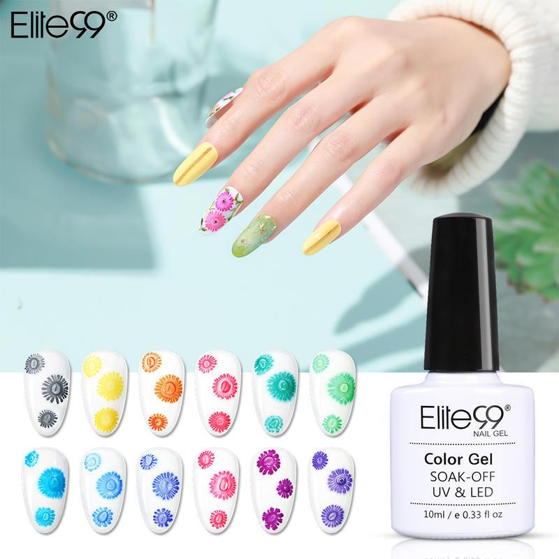 Elite99 10ml Flower Blooming Gel Nail Polish Soak Off Blossom Effect UV Gel Polish Snowflakes Liquid Nail Art Lacquer Manicure