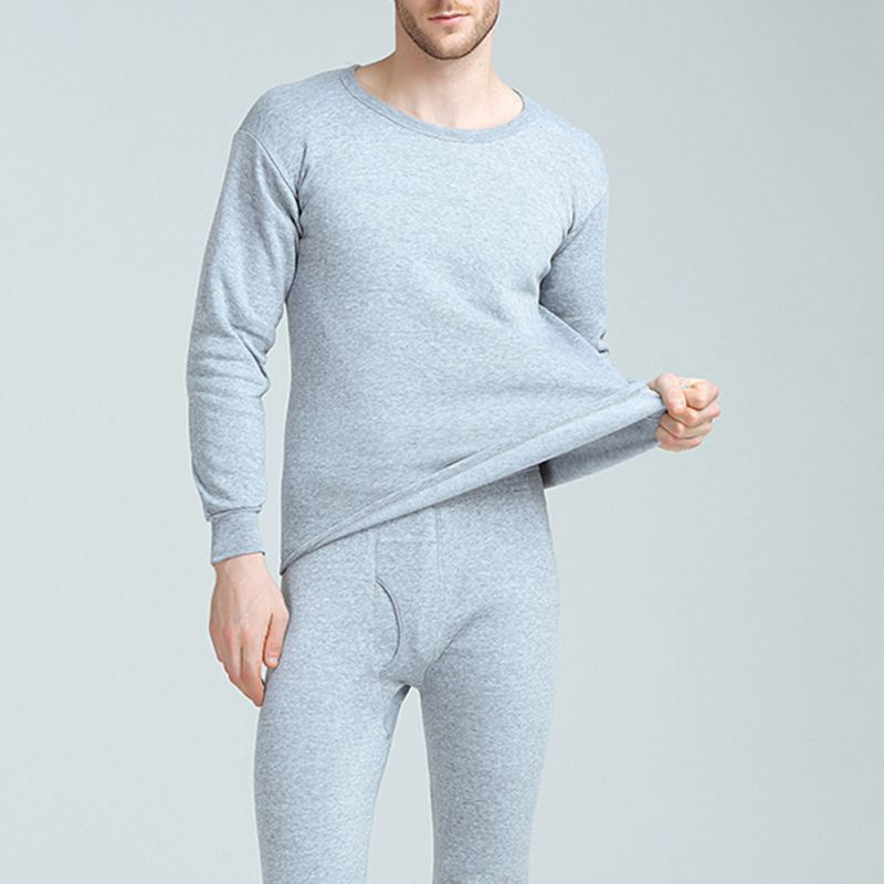 Mens Thermal Underwear Autumn Winter Plus Velvet Thicken Solid Long Sleep Suit Casual Winter Clothes Mens Warm Pants Winter Sets