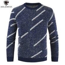 Мужской свитер в полоску aolamegs повседневный теплый трикотажный