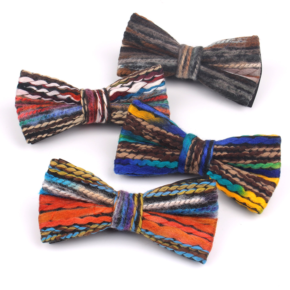 Fashion Woollen Yarn Bow Tie For Men Classic Suits Bowtie For Party Wedding Bowknot Adult Casual Bow Ties Cravats Ties