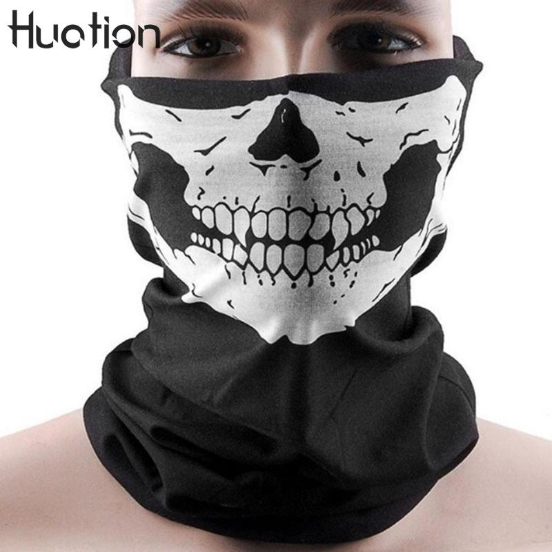 Huation Cool Skull Design Bandana Adults Multifunction Face Biker Sport Half Sport Mask Headband Motorcycle Ski Scarf D9L9