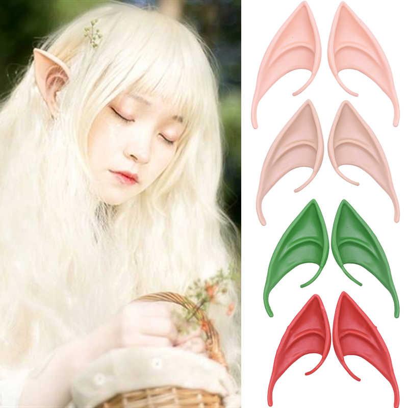 1 Pasang Misterius Malaikat Telinga Elf Cosplay Mendukung Lateks Lembut Telinga Elf Menunjuk untuk Masquerade Halloween Pesta Kostum Dekorasi Alat Peraga