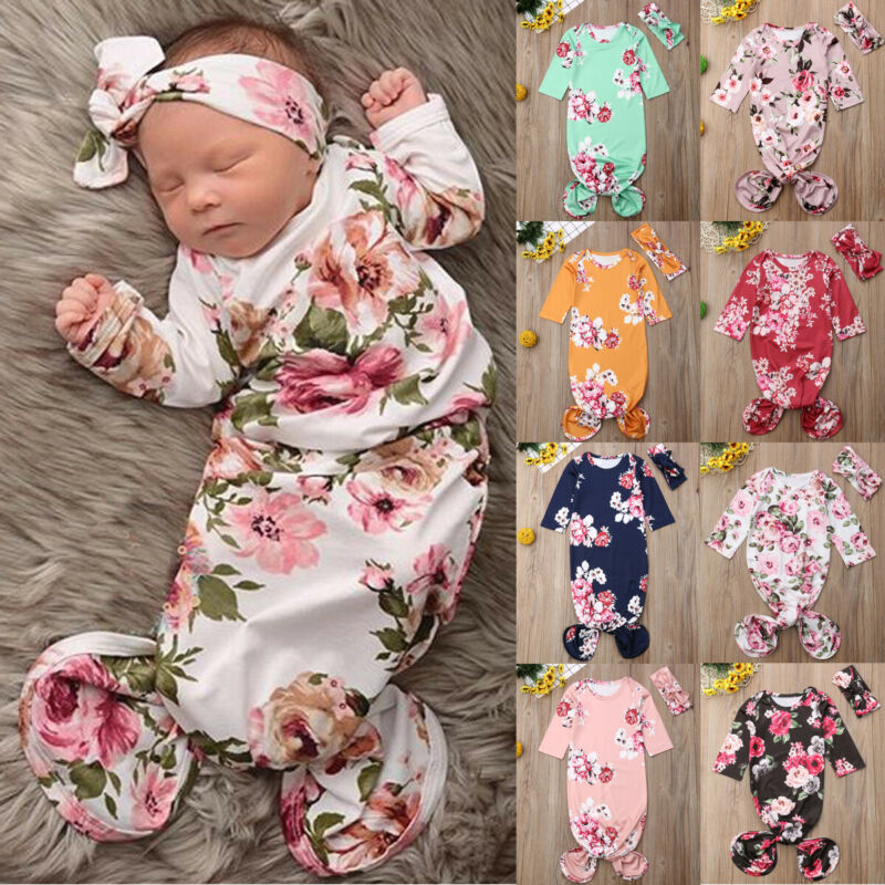 Fashion Floral Print Baby Girls Boys Swaddle Wrap Baby Blanket Newborn Infant Floral Sleeping Bag Hairband Romper 6M