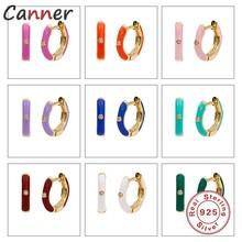 Aide S925 argent Sterling coloré cristal Ename cerceaux 9 couleurs femmes Piercing Pendientes ohrfairy cerceau boucle d'oreille bijoux fins