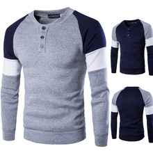 ZOGAA Spring Autumn Men Polo Shirt Male Cotton Long Sleeve O Neck Casual Slim Fit Patchwork Sweatshirts 2019 Hot