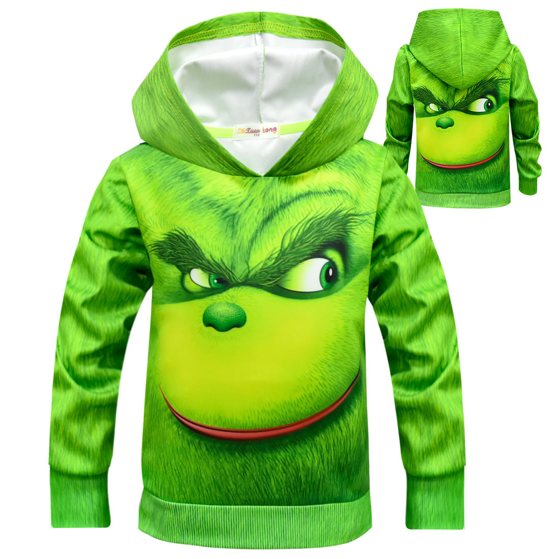 The Grinch Green Mob Children Christmas Costumes Hooded Sweater Fashion Pullover Streetwear Cosplay Hoodie